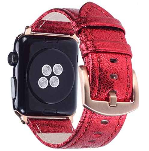 Apple Watch Band - Shiny Leather Bands for Women - Series 4 3 2 1 (Shiny Red)