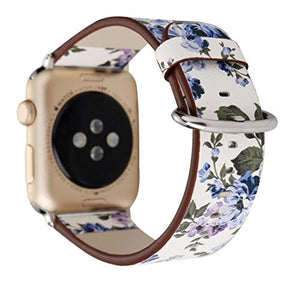Designer Leather Apple Watch Band (Flower - Blue Carnations)