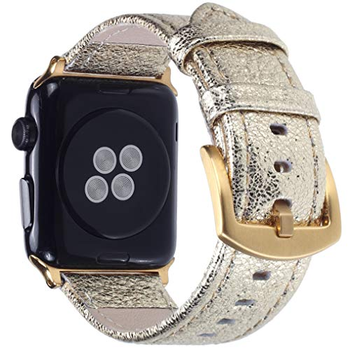 Apple Watch Band - Shiny Leather Bands for Women - Series 4 3 2 1 (Shiny Gold)