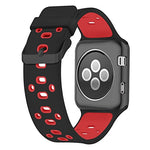 Load image into Gallery viewer, Apple Watch Silicone Band (Black with Red)