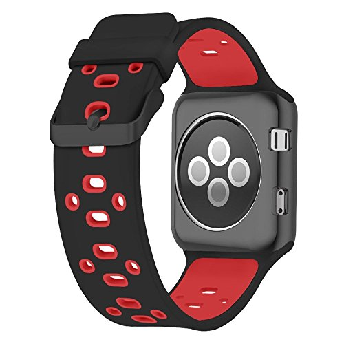 Apple Watch Silicone Band (Black with Red)