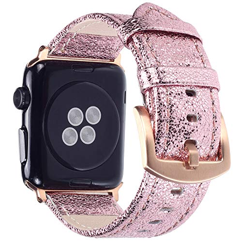 Apple Watch Band - Shiny Leather Bands for Women - Series 4 3 2 1 (Shiny Pink)