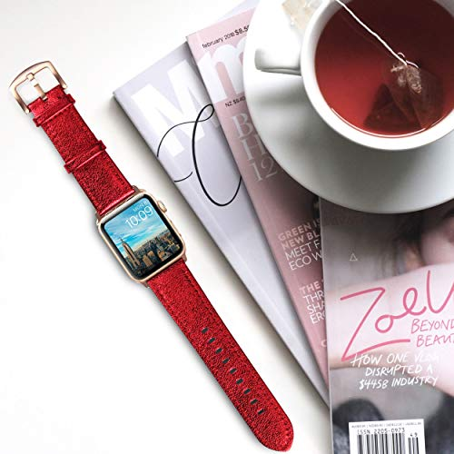 Apple Watch Band - Shiny Leather Bands(Shiny Red)