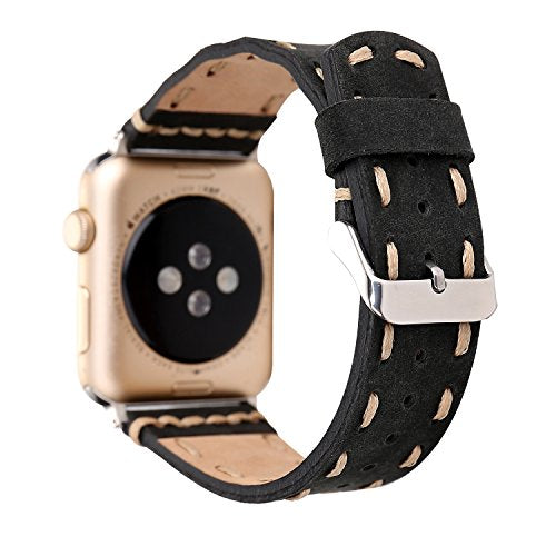 Genuine Leather Apple Watch Band (Side Stitch Black)