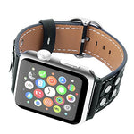 Load image into Gallery viewer, Genuine Leather Apple Watch Band (Button Black)