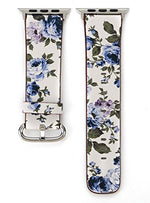 Load image into Gallery viewer, Designer Leather Apple Watch Band (Flower - Blue Carnations)