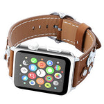 Load image into Gallery viewer, Genuine Leather Apple Watch Band (Button Brown)