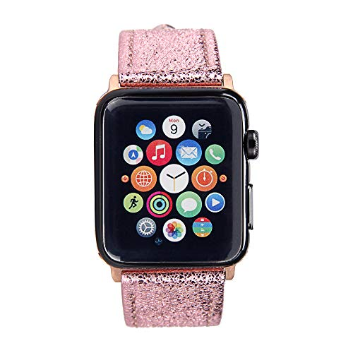 Apple Watch Band - Shiny Leather Bands(Shiny Pink)