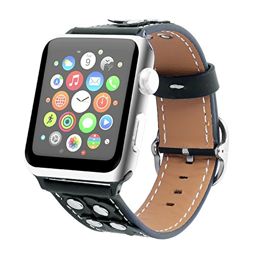 Genuine Leather Apple Watch Band (Button Black)
