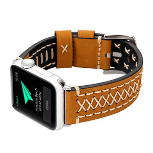 Genuine Leather Apple Watch Band (Cross Stitch Light Brown)