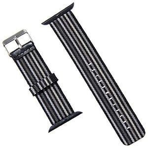 Apple Watch Band - Nylon Stripe - Compatible with Series 4 3 2 1 (Thin Black and Gray)