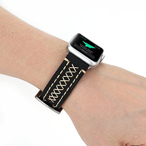 Genuine Leather Apple Watch Band (Cross Stitch Black)