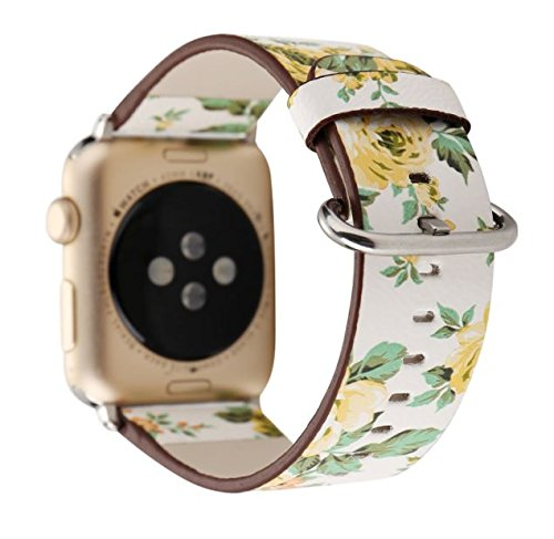Designer Leather Apple Watch Band (Flower - Yellow Roses)