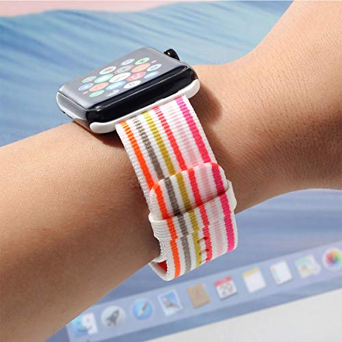 Nylon Apple Watch Band (Thin Rainbow)