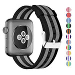 Load image into Gallery viewer, Nylon Apple Watch Band (Stripe, Black and Gray)