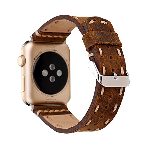 Genuine Leather Apple Watch Band (Side Stitch Brown)