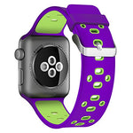 Load image into Gallery viewer, Apple Watch Silicone Band (Purple with Green)