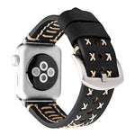 Load image into Gallery viewer, Genuine Leather Apple Watch Band (Cross Stitch Black)