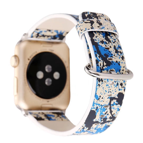 Designer Leather Apple Watch Band (Paint - Blue and Black)