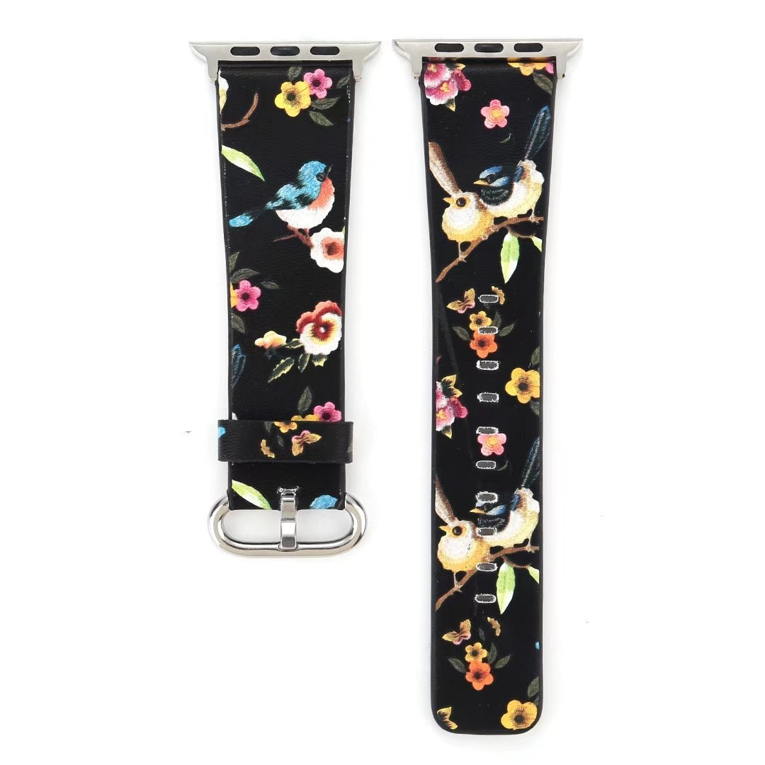 Designer Leather Apple Watch Band (Bird - Black Love Birds)