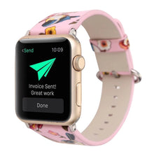 Designer Leather Apple Watch Band (Bird - Pink Love Birds)