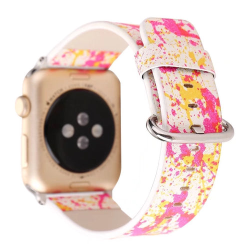 Designer Leather Apple Watch Band (Paint - Pink and Yellow)