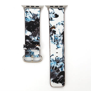Designer Leather Apple Watch Band (Tree - White and Blue Trees)