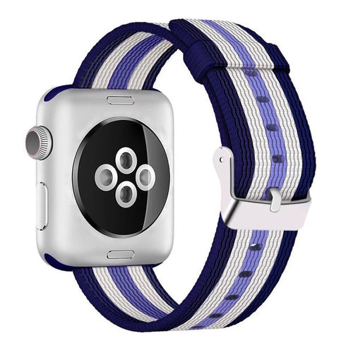 Nylon Apple Watch Band (Stripe, White and Purple)