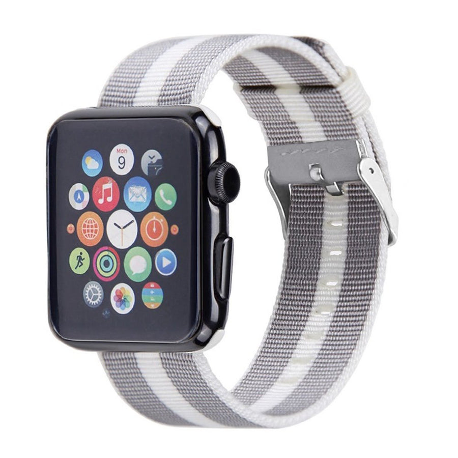 Nylon Apple Watch Band (Stripe, White and Gray)