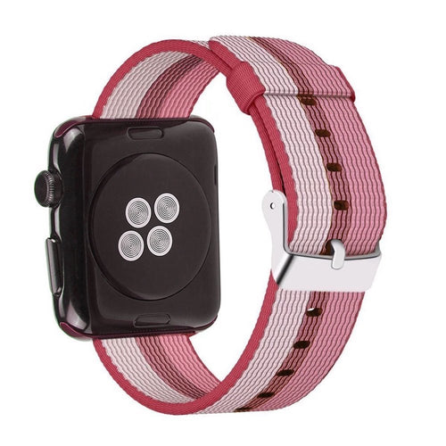 Nylon Apple Watch Band (Stripe, Berries)