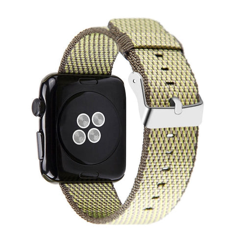 Nylon Apple Watch Band (Woven Yellow and Dark Olive)
