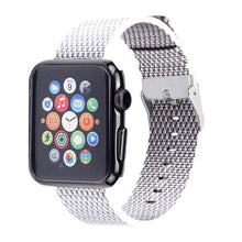 Nylon Apple Watch Band (Woven, White and Gray)