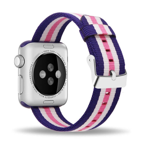 Nylon Apple Watch Band (Stripe, White and Pink)