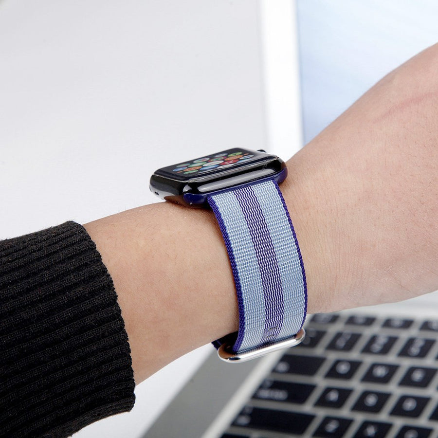 Nylon Apple Watch Band (Stripe, Blue and Gray)