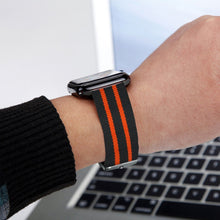Nylon Apple Watch Band (Stripe, Black and Orange)