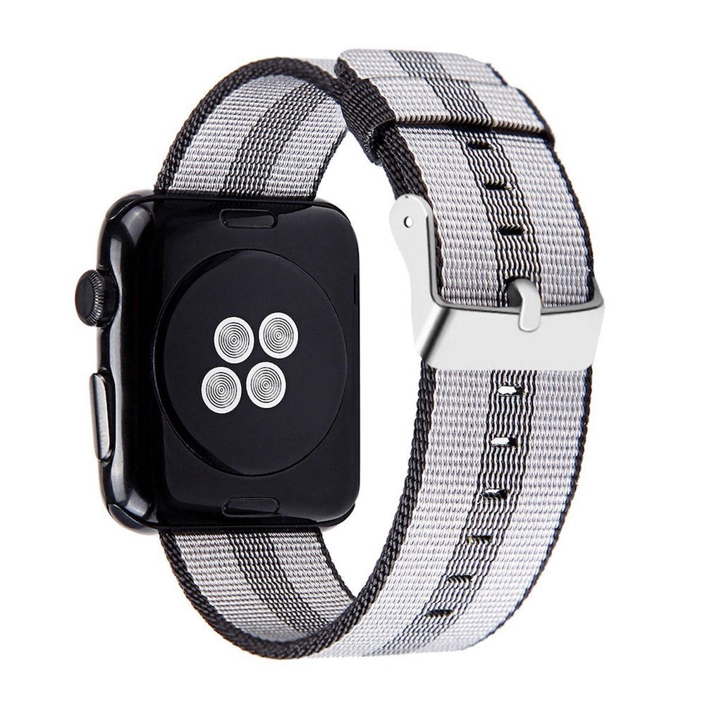 Nylon Apple Watch Band (Stripe, Black and Double Gray)
