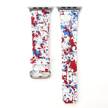 Designer Leather Apple Watch Band (Paint - Red White and Blue)