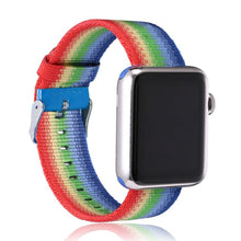 Nylon Apple Watch Band (Stripe, Rainbow Nylon)