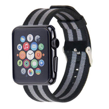 Nylon Apple Watch Band (Stripe, Black and Gray)