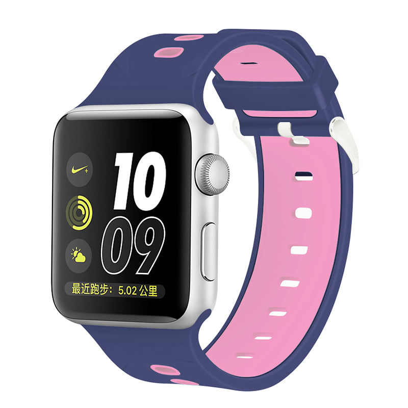 Apple Watch Silicone Band (Double Color - Blue and Pink)