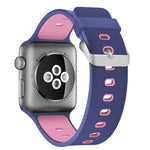 Load image into Gallery viewer, Apple Watch Silicone Band (Double Color - Blue and Pink)