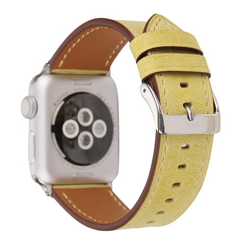 Leather Apple Watch Replacement Band for Women (Yellow)