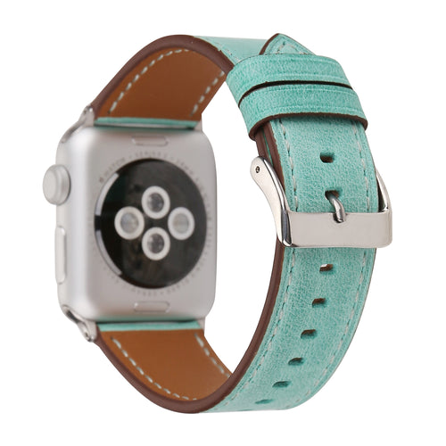 Leather Apple Watch Replacement Band for Women (Pastel: Teal)