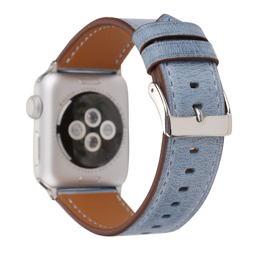 Genuine Leather Apple Watch Replacement Band  (Pastel: Light Blue)