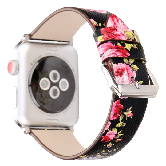 Designer Leather Apple Watch Band (Flower - Black and Red Flowers)