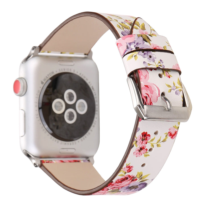 Designer Leather Apple Watch Band (Flower - Red Roses)