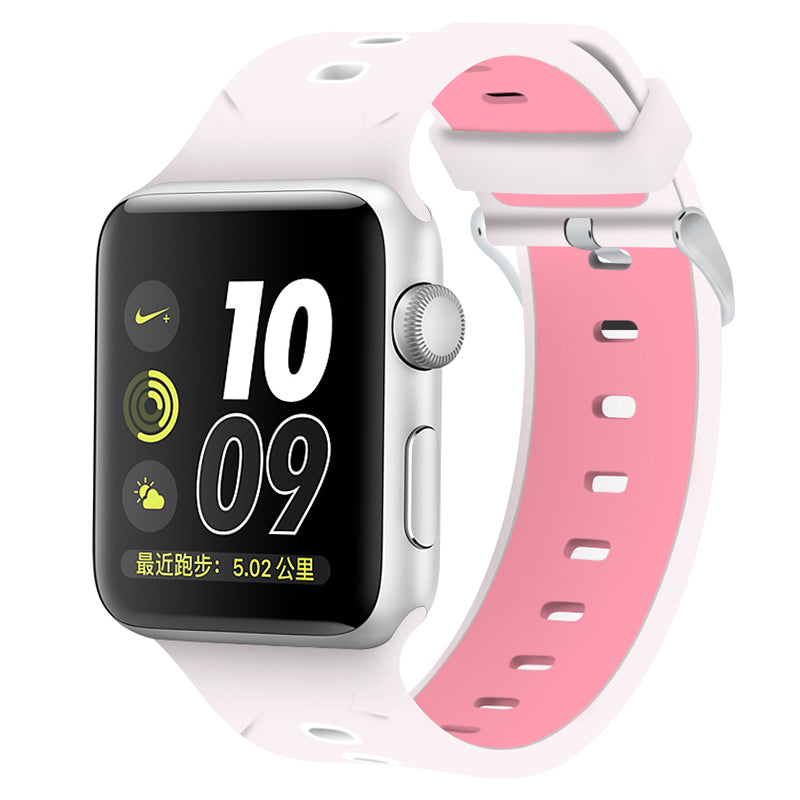 Apple Watch Silicone Band (White with Pink)