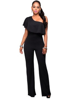 Ruffle one shoulder jump suit. - The Royal Boutique