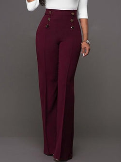 High waist 6 button maroon pants