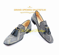 Mens criss cross plaid loafer with tassels